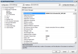 Screenshot: Visual Studio 2010 Debugging Configuration