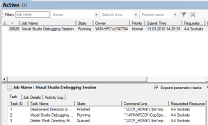 Screenshot: HPC Job Manager displaying a Visual Studio 2010 Debugging Job (1/2)