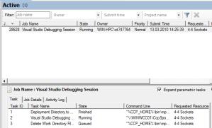 Screenshot: HPC Job Manager displaying a Visual Studio 2010 Debugging Job (1/2)