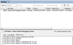 Screenshot: HPC Job Manager displaying a Visual Studio 2010 Debugging Job (2/2)