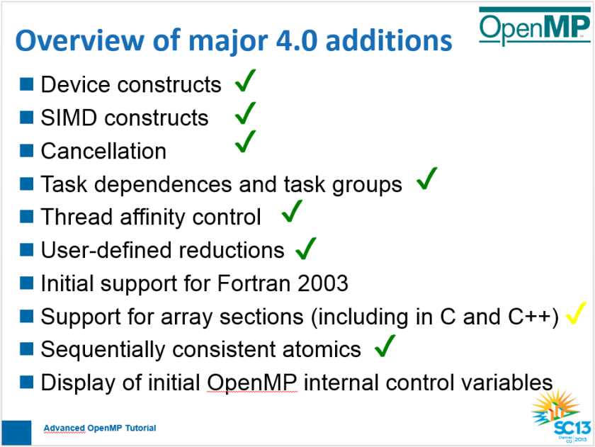 SC13 Advanced OpenMP Tutorial: OpenMP 4.0 Features